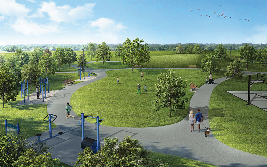 walkways, trails, playgrounds, and fitness stations